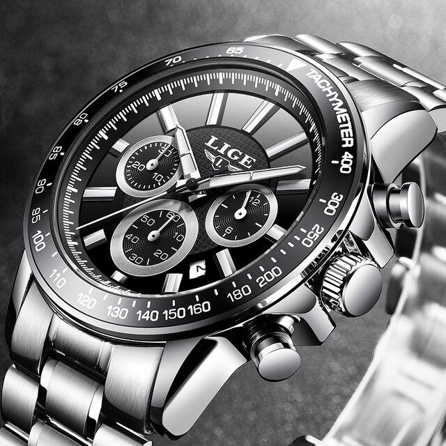 LIGE Luxury Brand Waterproof Military Sport Watches Men Silver Steel Calendar Quartz Analog Watch Clock Relogios Masculinos XFCS