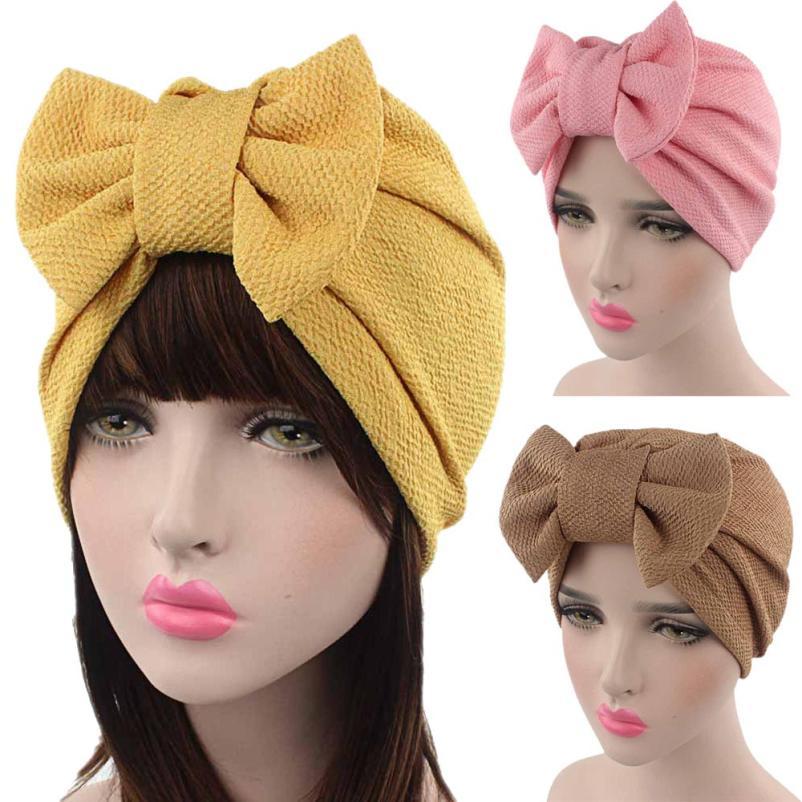 women Turban Hat India Cap Muslim Hats Hairnet Chemo Caps Flower Bonnet Bow Cancer Chemo Hat Beanie Scarf Turban Head Wrap Cap chain