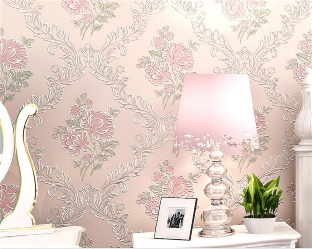 Beibehang Pastoral pink blue 3d wallpaper warm bedroom living room 3D stereo desktop TV background wallpaper for walls 3 d roll
