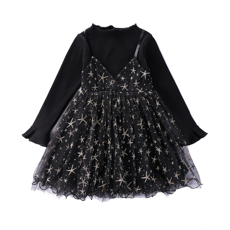 Cute Girl Knitting Baby Girls Sequins Dress Star Printed Kids Princess Party Lace Dresses Cute Clothes Spring Autumn 3-12y CA112 spring autumn cute baby kids girls party dress kids clothes cotton toddler girl clothing long sleeve baby girl princess dress