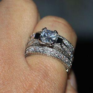 Image 5 - Victoria Wieck anneaux de mariage pour femmes, bijoux Vintage, 14kt, en or blanc, rempli de AAA CZ, 3 pièces pour amour, Size5 11