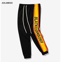 Aolamegs Men Casual Pants Double Color Side Stripe Vintage Track Pants Letters Printed Street Fashion Joggers