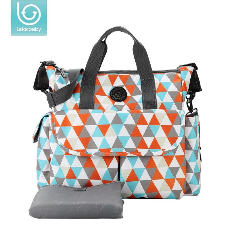Lekebaby plaid handbag shoulder diaper bag organizer nappy maternity bags for mother baby stroller Large capacity
