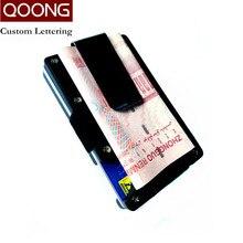 QOONG Custom Lettering Plastic Credit Card Holder Travel Mini Wallet Men Women Cardholder Porte Carte Male Case KH1-016s