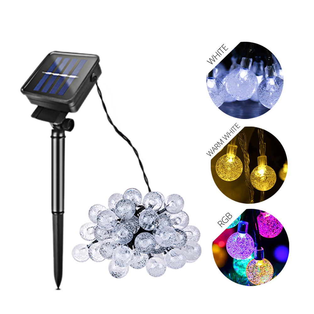 Aspiring Led Solar Lawn Lamp Rgb/warm White/white 6/7m Waterproof Ball Fairy Lighting Strings For Home Holiday Outdoor Garden Decoration