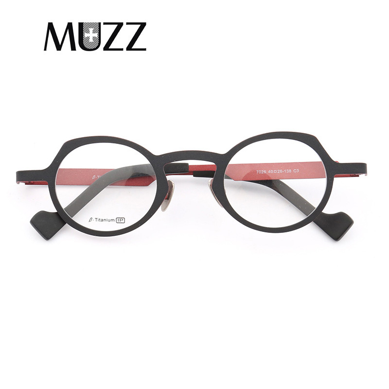 MUZZ Super light Pure titanium frames eyeglasses men Optical Irregular small round full rim Frame myopia
