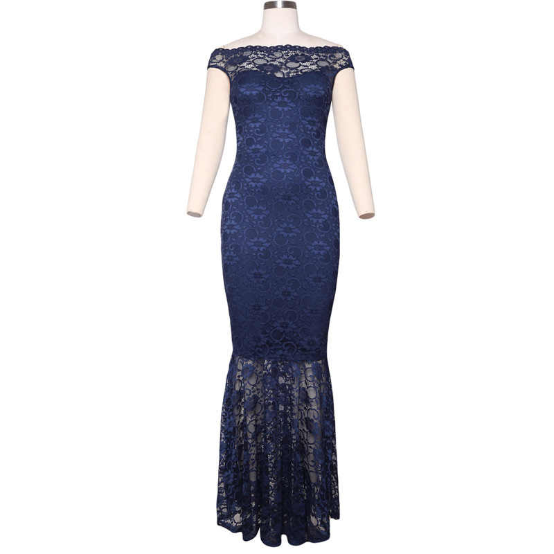 ... SEBOWEL Sexy Formal Black Bardot Lace Fishtail Maxi Dress Women Off  Shoulder Party Long Dresses Female 56b2df6eaccb