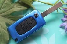 Aluminium Autoschlüssel Fob Fall 3 Tasten Flip Folding Remote Key Shell Blank Abdeckung Fit Für Peugeot 407 Uncut Klinge Mit nut