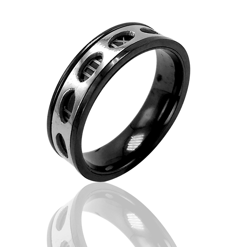 Roman numerals Design 6mm Width Wedding Band Men Rings Stainless ...