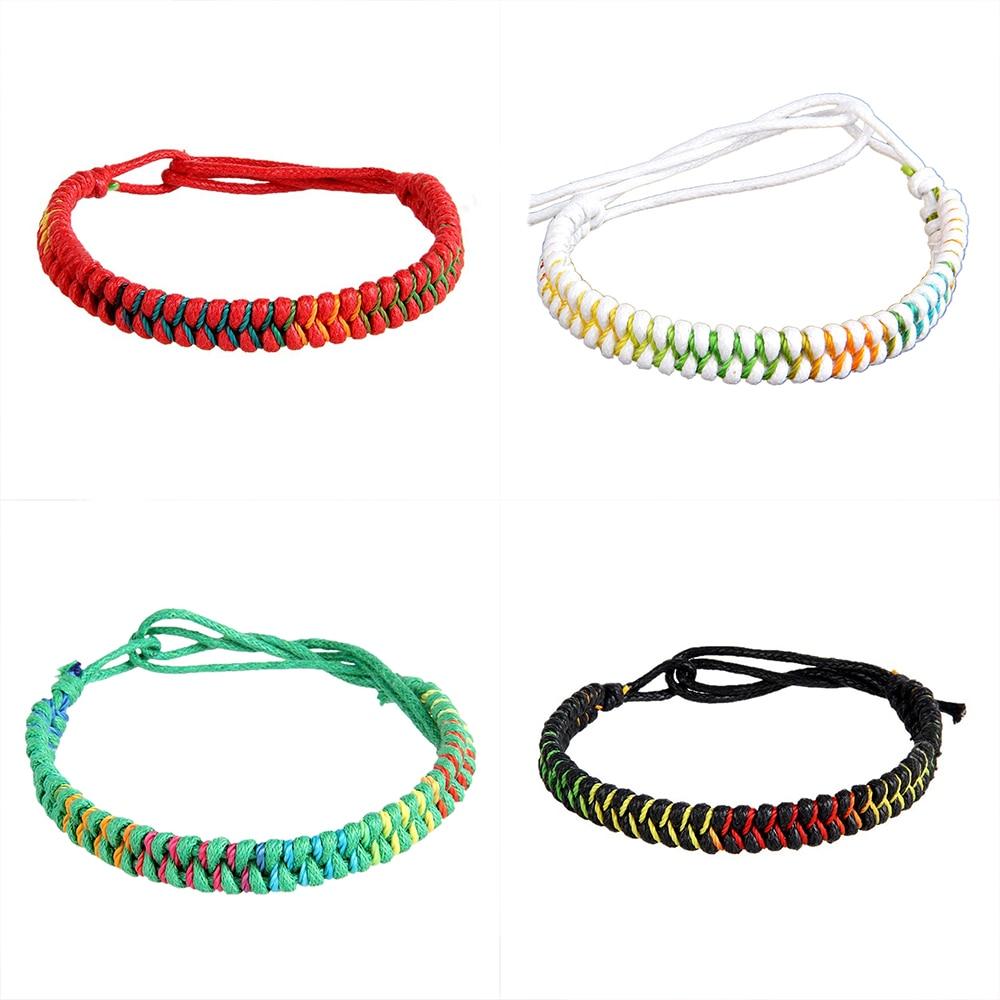 2464b603e4093 Refaxi Tibetan Buddhist Handmade Knots Lucky Rope Bracelet Rope Chain  Adjustable Size
