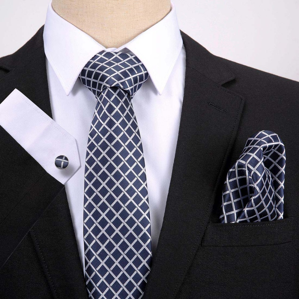 Newest Design 7 5cm Plaid Dot Tie Set Silk Jacquard Woven Mens Necktie Gravata Hanky Cufflink Set Mens Tie for Wedding Party in Men 39 s Ties amp Handkerchiefs from Apparel Accessories