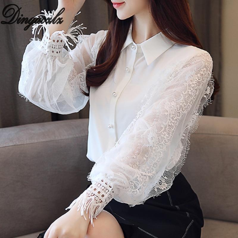 Dingaozlz Fashion Chiffon Lace Shirt 2018 New Lantern Sleeve Patchwork Women Blouse Tops Casual Crochet Beaded White Shirt