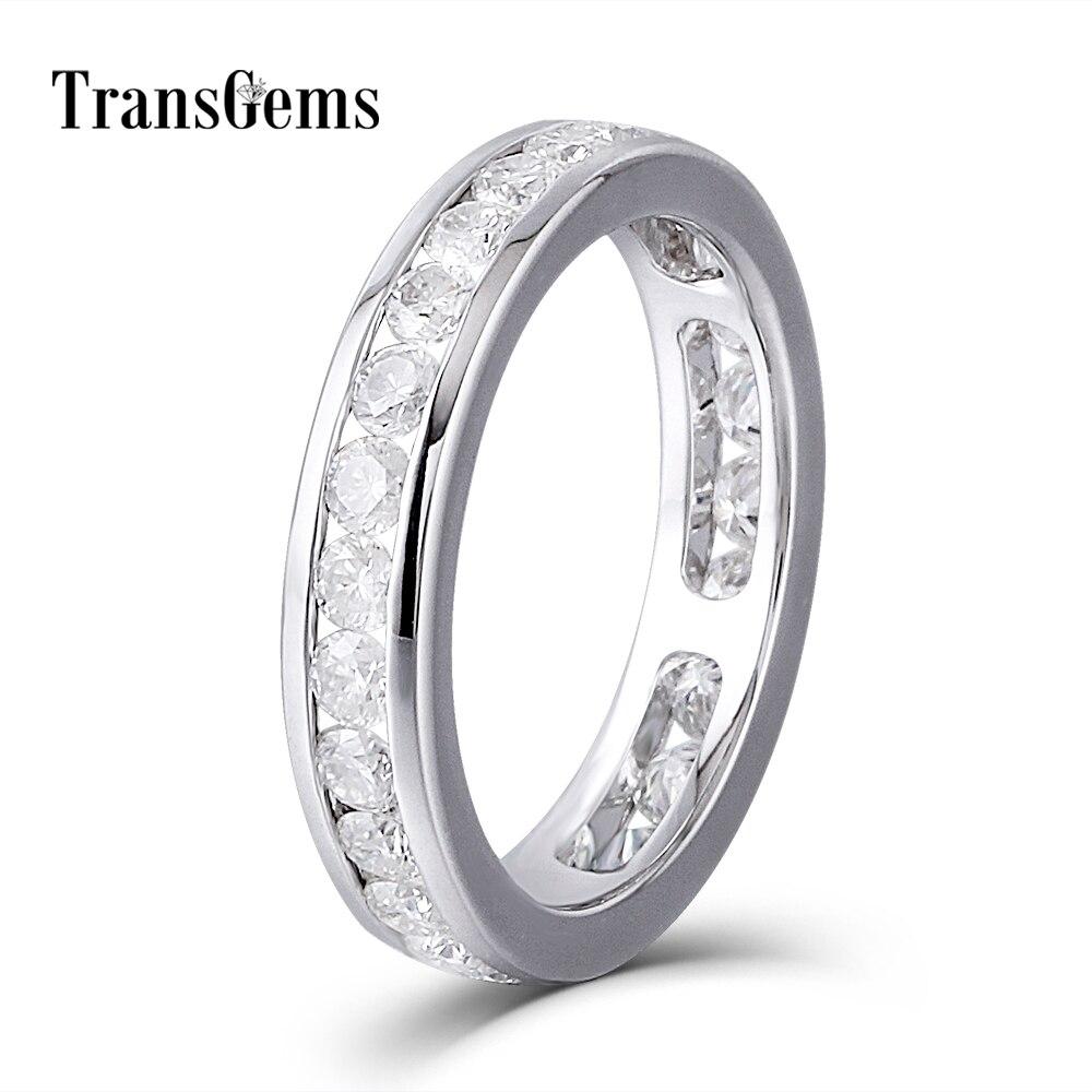 Amoureux Or Moissanite Diamant Bande De Mariage Eternity Band Solide 14 k 585 Or Blanc de Fiançailles Bague Anniversaire pour les Femmes et hommes