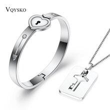 Модные парные Ювелирные наборы для влюбленных, нержавеющая сталь, браслет с замком в виде сердца, браслеты, подвеска в виде ключа, ожерелье, набор для пар