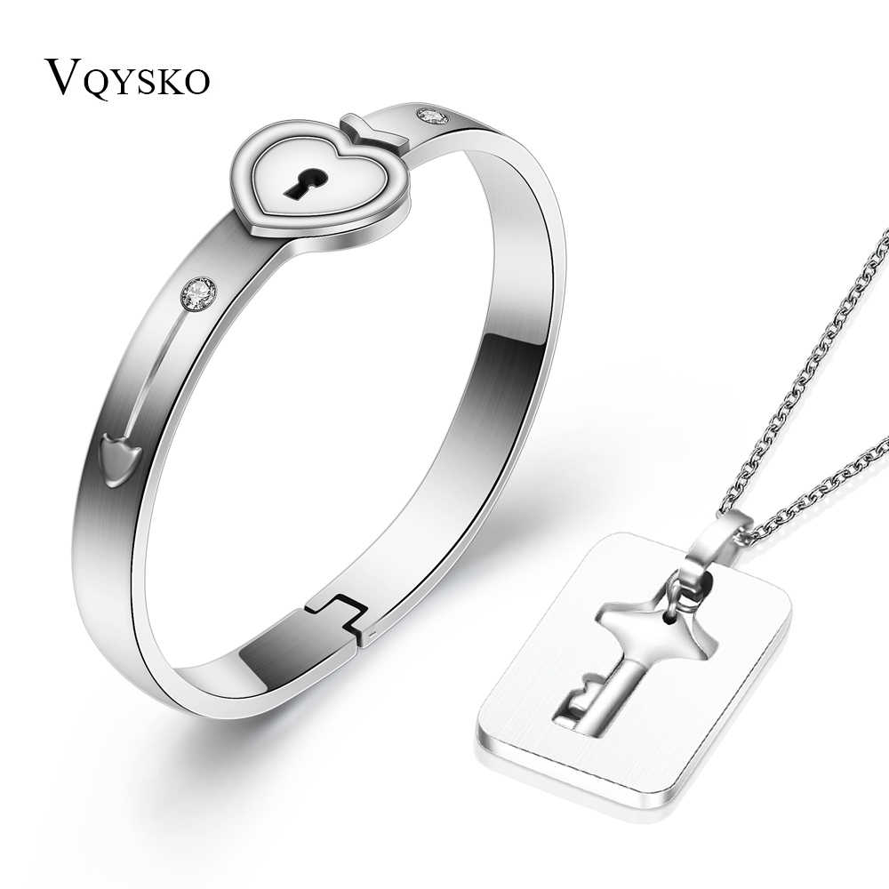 fae36ce745 A Couple Jewelry Sets Stainless Steel Love Heart Lock Bracelets Bangles Key  Pendant Necklace Couples