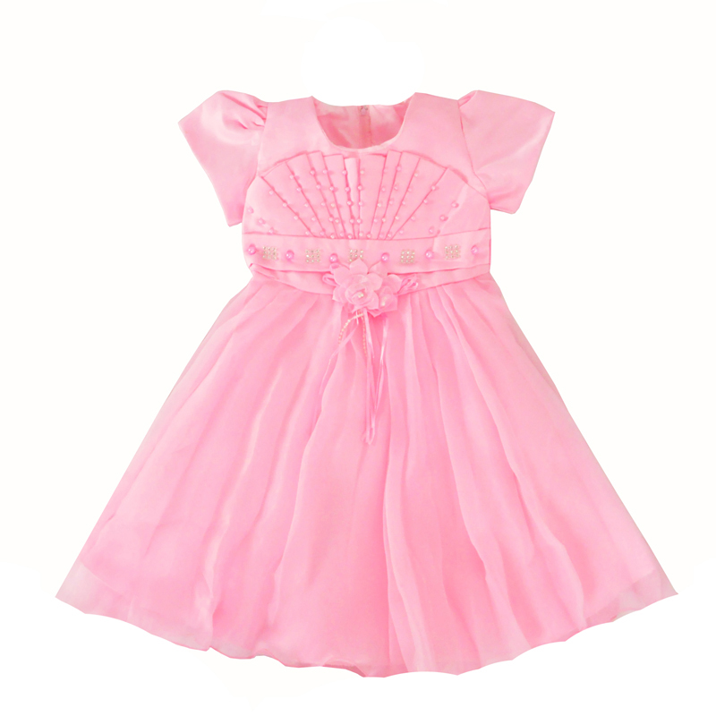 Summer Toddler Girls Clothes Dress Lace Fashion Bead Kids Party Dress Pink Flowers Children Princess Dresses Baby Girl Clothing