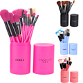 12Pcs Makeup Brushes Eyeliner Powder Contour Concealer Eye Shadow Foundation Lip Bevel Eyebrow Brush Set Cylinder Make up Tools