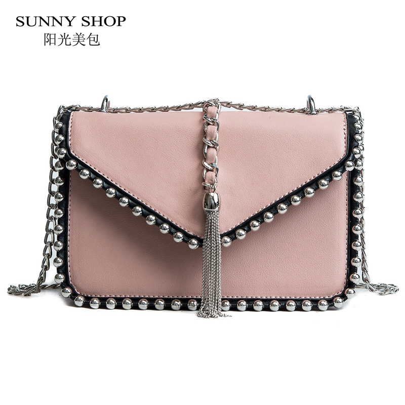 SUNNY SHOP Tassel Rivet Chains Flap Women Crossbody Bag Fashion Ladies Purse And Handbags PU Leather Messenger Bag Pink Blue stitching chains metallic tassel crossbody bag