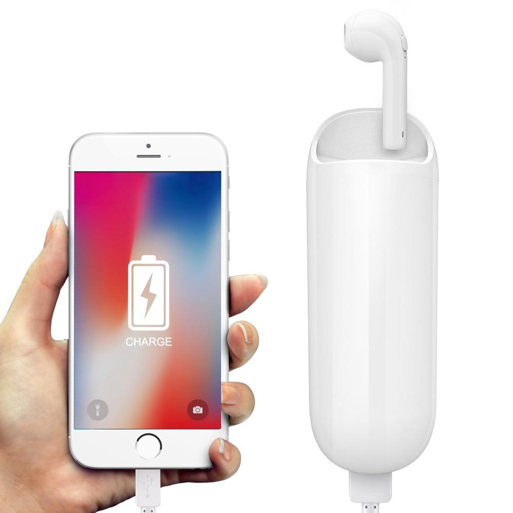 Auriculares Bluetooth inalámbricos Mini micrófono único con cargador de Banco de energía de 3300 mah en la oreja auriculares para xiaomi iPhone