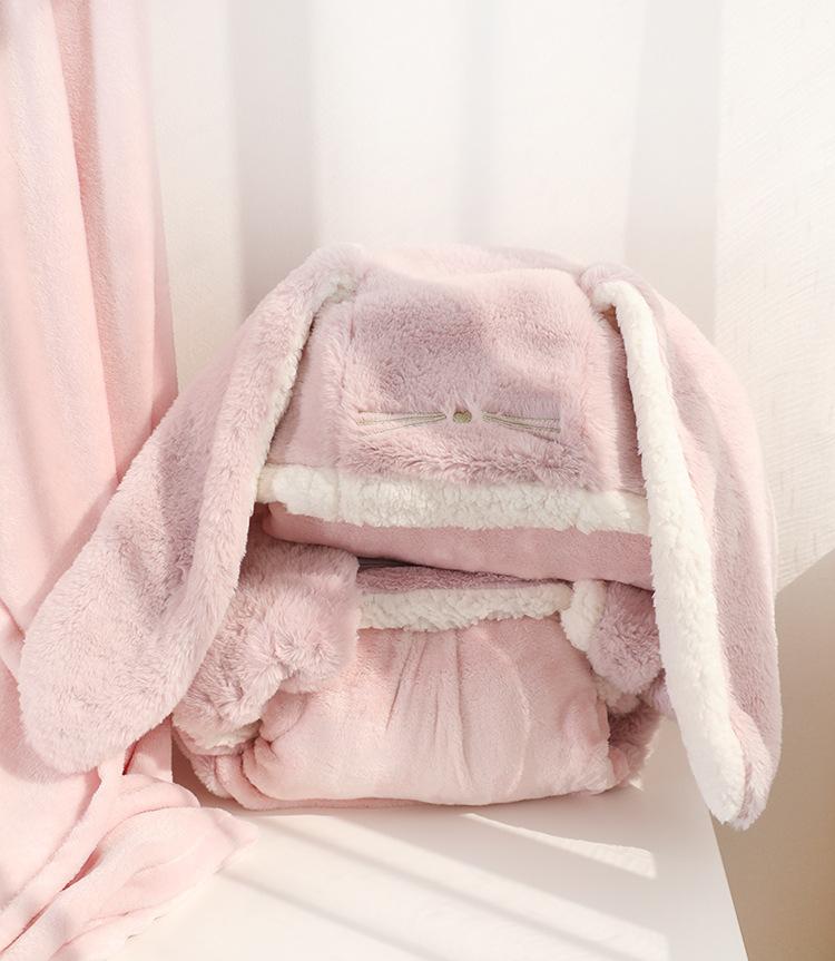 Cute Pink Comfy Blanket Sweatshirt Winter Warm Adults and Children Rabbit Ear Hooded Fleece Blanket Sleepwear Huge Bed Blankets 150