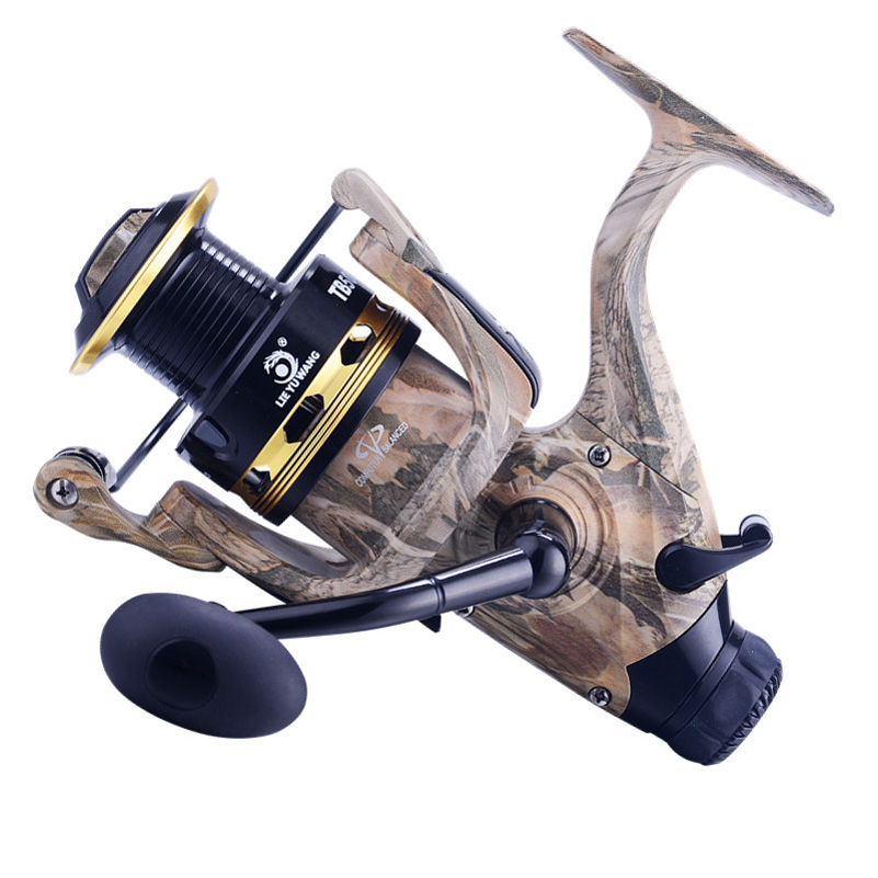 где купить YUYU Fishing Reel camouflage Fishing Spinning Reel 13+1BB Double Drag Carp Feeder Fishing Reel Wheel 5000 Series Crank handle дешево