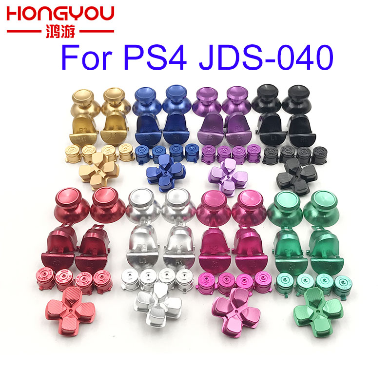 Metal Bullet Buttons Thumbstick Cap L1 R1 L2 R2 Dpad Aluminum Buttons For PS4 Slim Pro Controller Dualshock 4 JDM040 JDS040