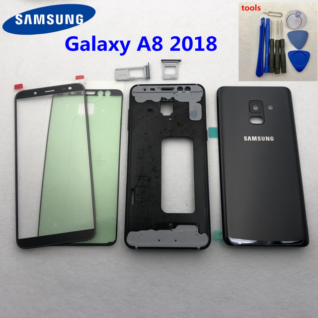 For Samsung Galaxy A8 2018 A530 A530F Full Housing Battery Back Cover Door Middle Frame A8 Glass Back Cover Front glass + Tools