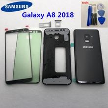Per Samsung Galaxy A8 2018 A530 A530F Completa Della Batteria Dellalloggiamento Della Copertura Posteriore del Portello Medio Cornice A8 di Vetro Della Copertura Posteriore Anteriore vetro + Strumenti