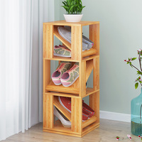 LK605 Multifunctional 360 Degree Rotating Storage Rack Creative 4/6 Layers Wooden Shoes Cabinet Space saving Shoes Rack