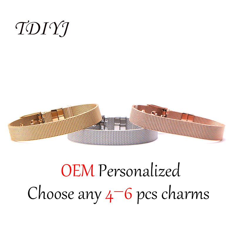 TDIYJ New Collection Women Stainless Steel DIY Personalized Customized Keeper Mesh Bracelet 4 to 6Pcs Slide Charms to Choose tdiyj gift box love heart dangle to mom new collection charms diy stainless steel mesh silver bracelet for mother s day 1set