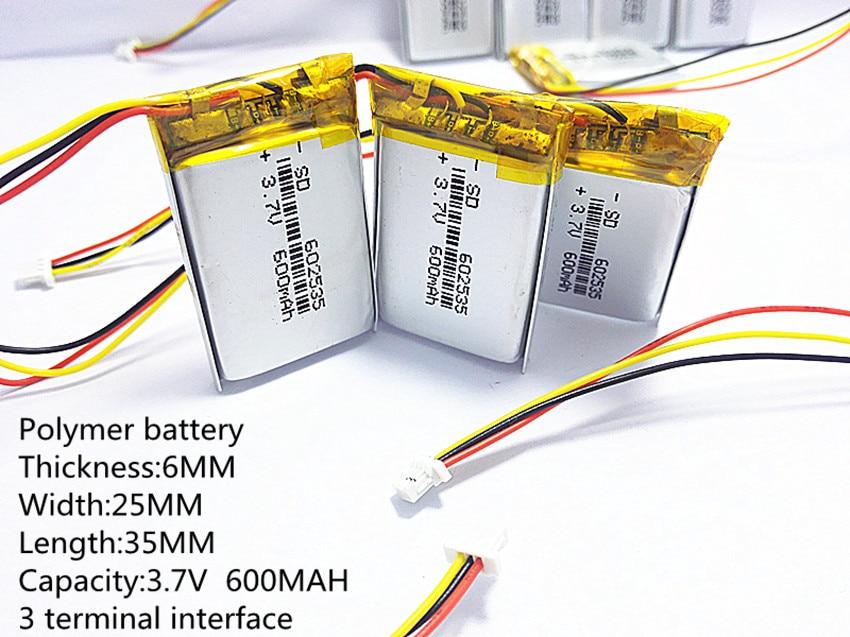 Litre énergie batterie 3 ligne 602535 3.7 V lithium polymère batterie 062535 600 mah 582535 l'enregistreur vidéo 388