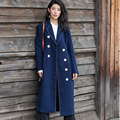 BringBring 2017 Spring Autumn Long Trench Coat for Women Double Breasted Slim Women Fashion Turn-Down Trench Outwear Coat 1803