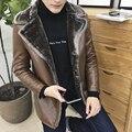 2016 Горячие продажа новые зима высокого качества меховой воротник мужчины с толстые кожаные бархатные теплые бизнес случайный мужская кожаная куртка размер L-8XL