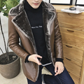 2016 venda Quente novo inverno de alta qualidade gola de pele dos homens com couro de espessura de veludo quente business casual mens casaco de couro tamanho L-8XL