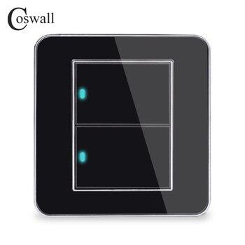 Produsen Coswall Merek 2 Gang 1 Cara Acak Klik Pada/Off Saklar Lampu Dinding dengan Indikator LED Kristal Akrilik panel