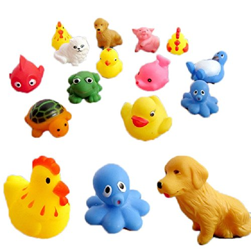 13 pcs Rubber Animals With Sound baby shower toys shower toys