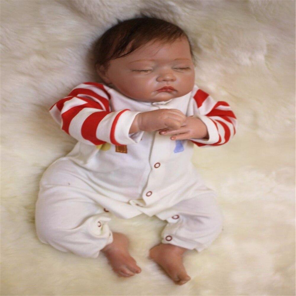 SanyDoll 19 inch 49 cm Silicone baby reborn dolls, lifelike doll reborn Cute sleep baby Boys and girls Festival gift