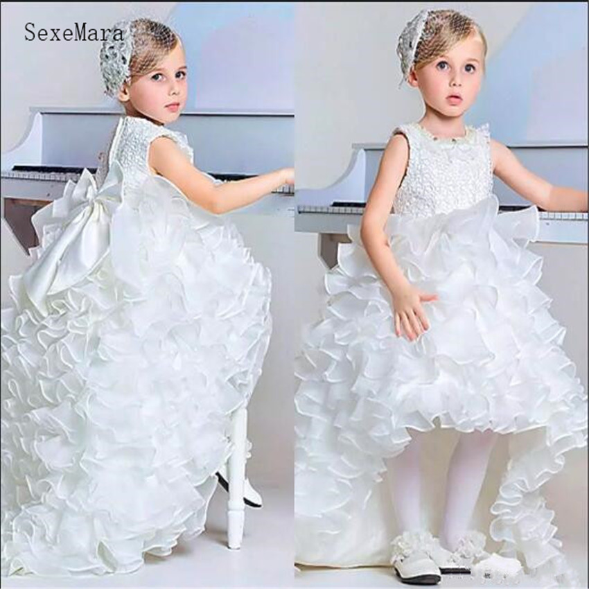 High Low Tiers Organza Ruffles Princess Kids Formal Wears   Flower     Girl     Dresses   for Various Parties   Girl's   Pageant   Dresses