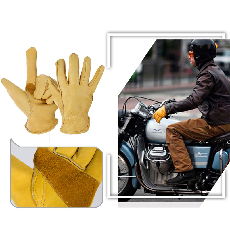 New OZERO Mens The Driver Cowhide Motorcycle Gloves Waterproof Anti Cold Anti Snowboard Hiking Hunting Gloves 0011