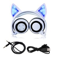 Foldable Cosplay Cat Ear Bluetooth Headphone Wireless Wire Universal Stereo Headset LED Light Flashing Earphone With