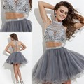 Sexy 2015 Homecoming Dress Short prom Gowns High Neck Beaded Crystal Two Pieces Silver Grey Tulle A-line mini Homecoming Dresses