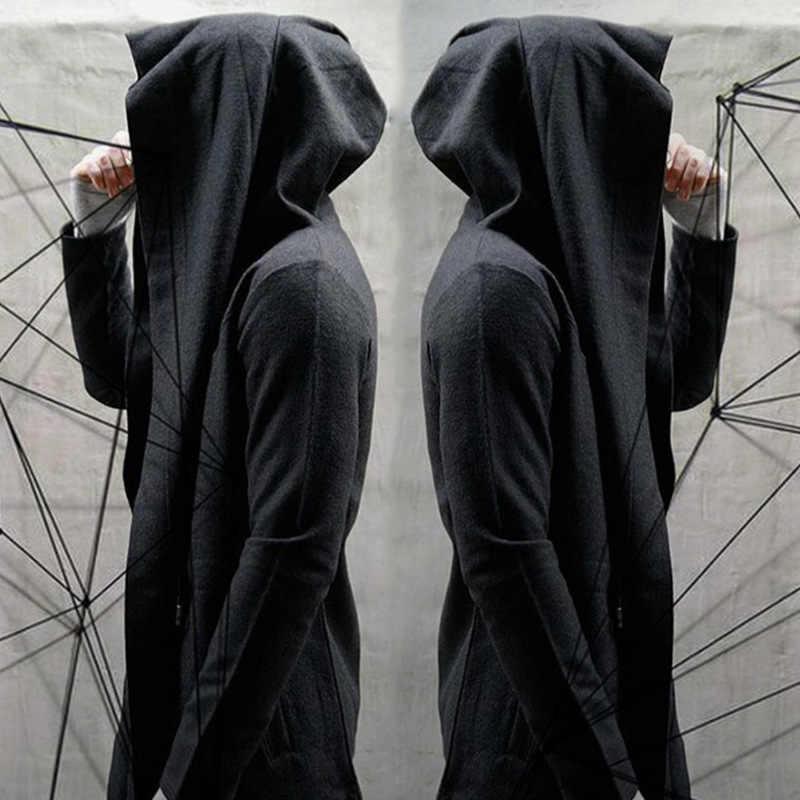Темная Мужская ветровка длинный кардиган с капюшоном сортировщик плащ осенняя куртка с длинными рукавами Мужская s Тренч куртка стимпанк Мужская