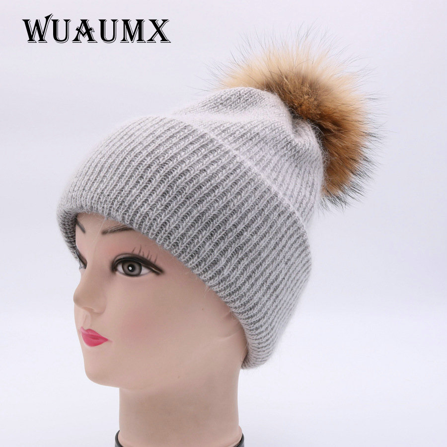 Wuaumx NEW Winter Beanies Hat For Women Real Raccoon Fur Pompom Ball Winter Hat Cashmere Rabbit. Knitted Hat Skullies Casual Cap 4pcs new for ball uff bes m18mg noc80b s04g