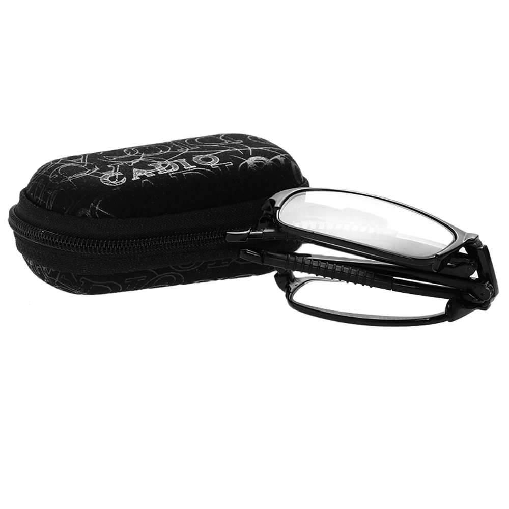 HOOH Unisex Folding Reading Glasses With Case Ultralight Magnifying Metal Frame Eyeglasses Eyewear Omen Men +1.0 ~ +4.0