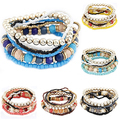 Bohemian Beach Style Womens Bracelet Boho Multilayer Acrylic Beaded Bracelet 4Z1X