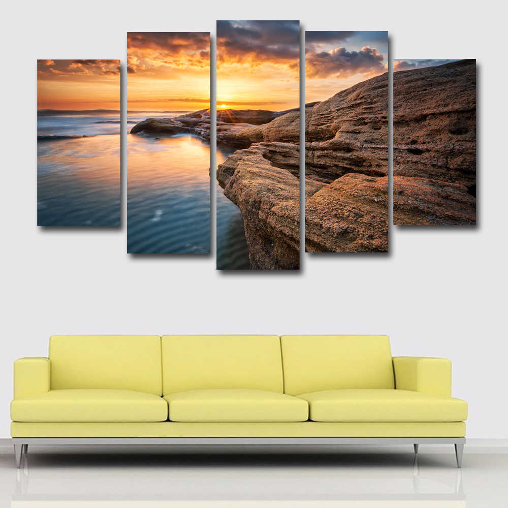 5 Panels/ Set Bulgaria Coast Sea Stones Sunset Painting Landscape Painting Print Posters On Canvas Wall Picture Home decor