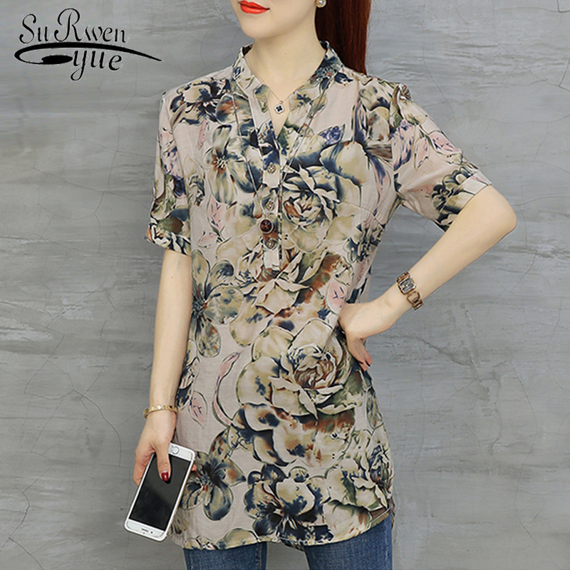 Fashion Woman Blouses 2019 Short Sleeve Long Summer Tops Floral Print Chiffon Blouse Shirt Womens Tops And Blouse Blusas D532 40