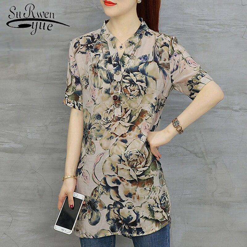 fashion woman   blouses   2019 short sleeve long Summer tops floral print chiffon   blouse     shirt   womens tops and   blouse   blusas D532 40