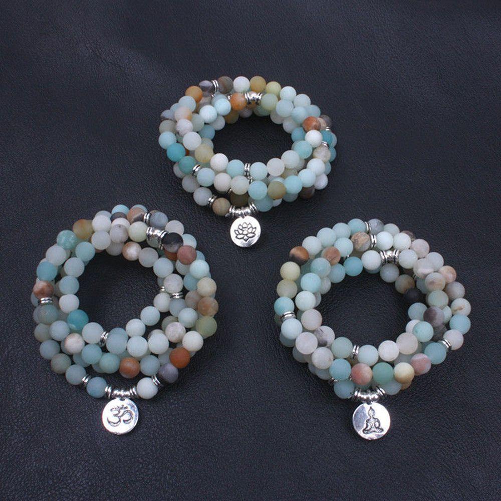 HTB10HGfk5rpK1RjSZFhq6xSdXXa6 - Fashion Women`s bracelet Matte Frosted Amazonite beads with Lotus OM Buddha Charm Yoga Bracelet 108 mala necklace