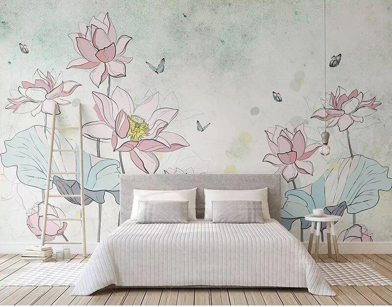 Date 8d peint à la main Vintage papier peint Mural 3D Lotus papillon papier peint autocollant papier pour salon peintures murales décor